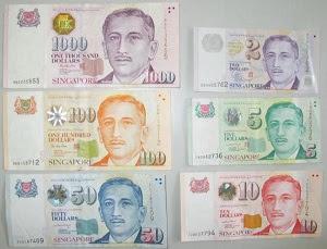 mata uang dolar Singapura kertas