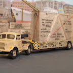 BED1; CH6; W26; Airfix Queen Mary trailer. RAF Aden	I modeled this on the vehicle(s) I drove whilst doing my national service in Aden in 1956/7. The Airfix Bedford OXC tractor unit was too small but the Queen Mary trailer was correctly proportioned. I used a BED1 cab, CH6 chassis with the rear rails removed and rear cross member fitted, W26 wheels long before we added them to the list and then set to work altering the Queen Mary trailer. The last rear section of the trailer sides was cut down the rear so that the last section on either side tapered inward to correctly follow the prototype, the wheels were exchanged for the ones we use on the T14 low loader trailer, a landing wheel assembly was added to the front of the bulkhead underneath the swan neck, a hole was drilled into the nearside of the swan neck to allow the lowering handle to be fitted , The whole outfit was finished in desert sand livery and a suitable 'heavy lift' load added and then roped for movement from docks to Khormaksar airfield.