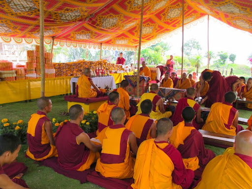 Content consecration of Khensur Rinpoche Lama Lhundrup's stupa at Kopan Monastery, May 2012. Photo courtesy of Kopan Monastery.