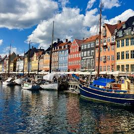 Nyhavn, Copenhagen by Timothy Carney - City,  Street & Park  Historic Districts ( copenhagen, harbor, nyhavn, boats, reflections, denmark )
