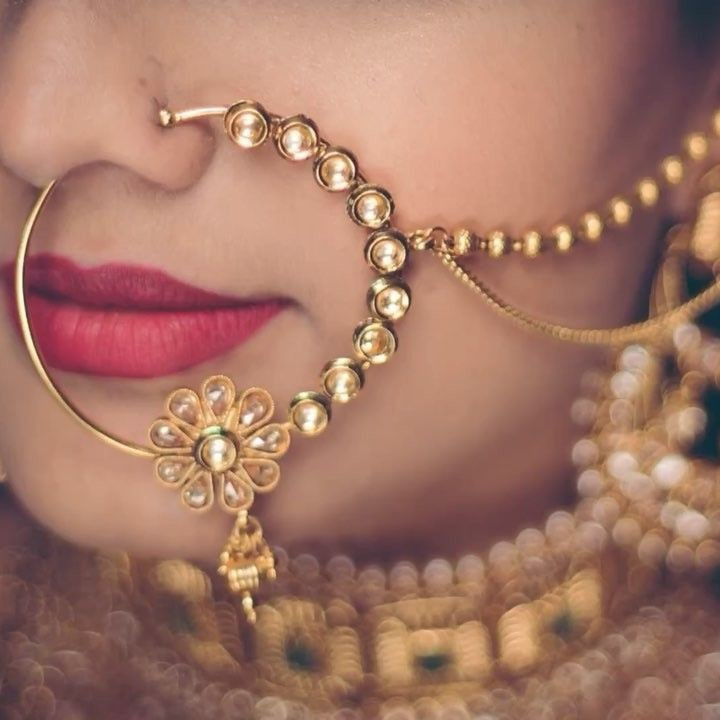 Indian Nath Gold Plated Nose Ring For Bridal 0000