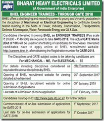 BHEL Engineer Trainees through GATE 2018 www.indgovtjobs.in