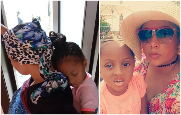Adorable photo of Peter Okoye's wife, Lola backing their daughter
