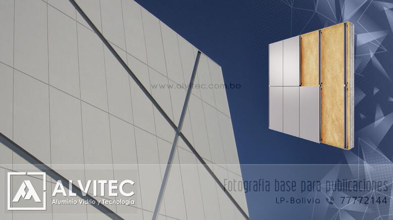 Paneles de aluminio compuesto en fachadas flotantes de aluminio