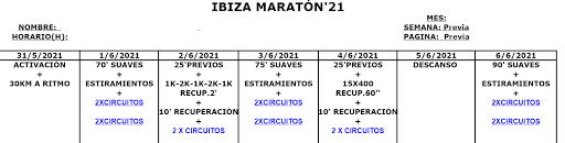 Entreno Ibiza Maratón'21