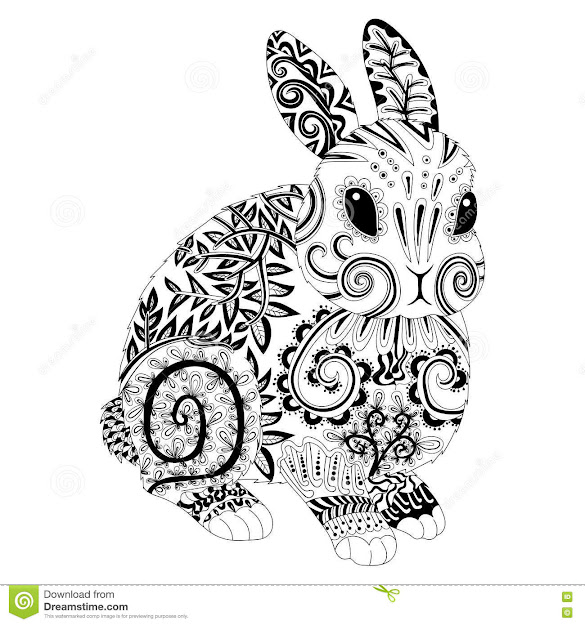 Stock Illustration High Detail Patterned Rabbit Zentangle Style Adult Coloring  Page Antistress Art Therapy Template Shirt Tattoo Poster Image