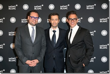 MUNICH, GERMANY - APRIL 26: Till Fellrath, Chairman Montblanc Cultural Foundation, Vincent Montalescot, Executive Vice President Marketing Montblanc International,  and Sam Bardaouil, Chairman Montblanc Cultural Foundation, during the Montblanc de la Culture Arts  Patronage Award at Residenz on April 26, 2018 in Munich, Germany. (Photo by Gisela Schober/Getty Images for Montblanc)