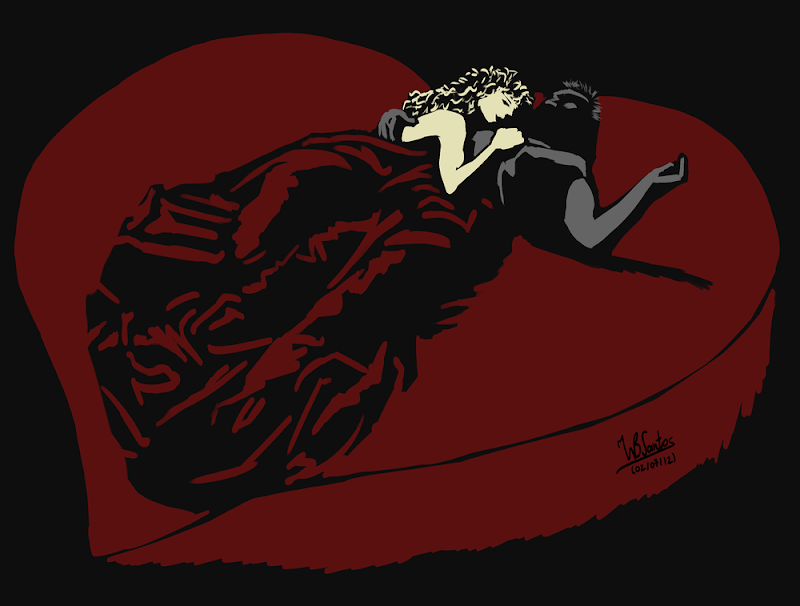 Goldie from Sin City on Heart Bed, using Krita 2.5 Beta.