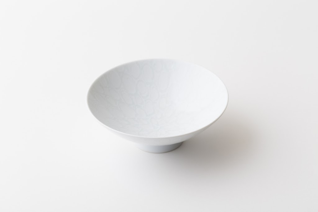 Hira-Chawan Flat Bowl (white x loop)