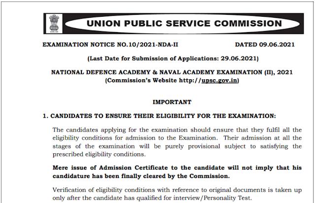 UPSC Recruitment - 400 National Defence Academy & Naval Academy (NDA -II) Exam, 2021 - Last Date: 29th Jun 2021