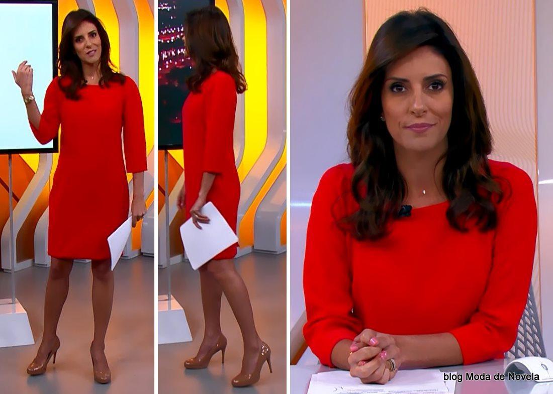 moda do programa Hora 1, vestido vermelho da Monalisa Perrone dia 30 de dezembro