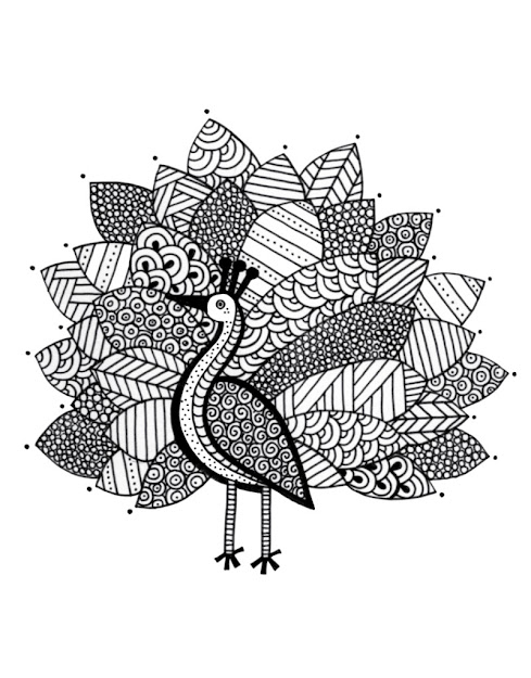 Doodle Coloring Page Peacock Coloring Page