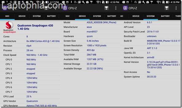 CPU-Z Asus Zenfone 3 Max ZC553KL