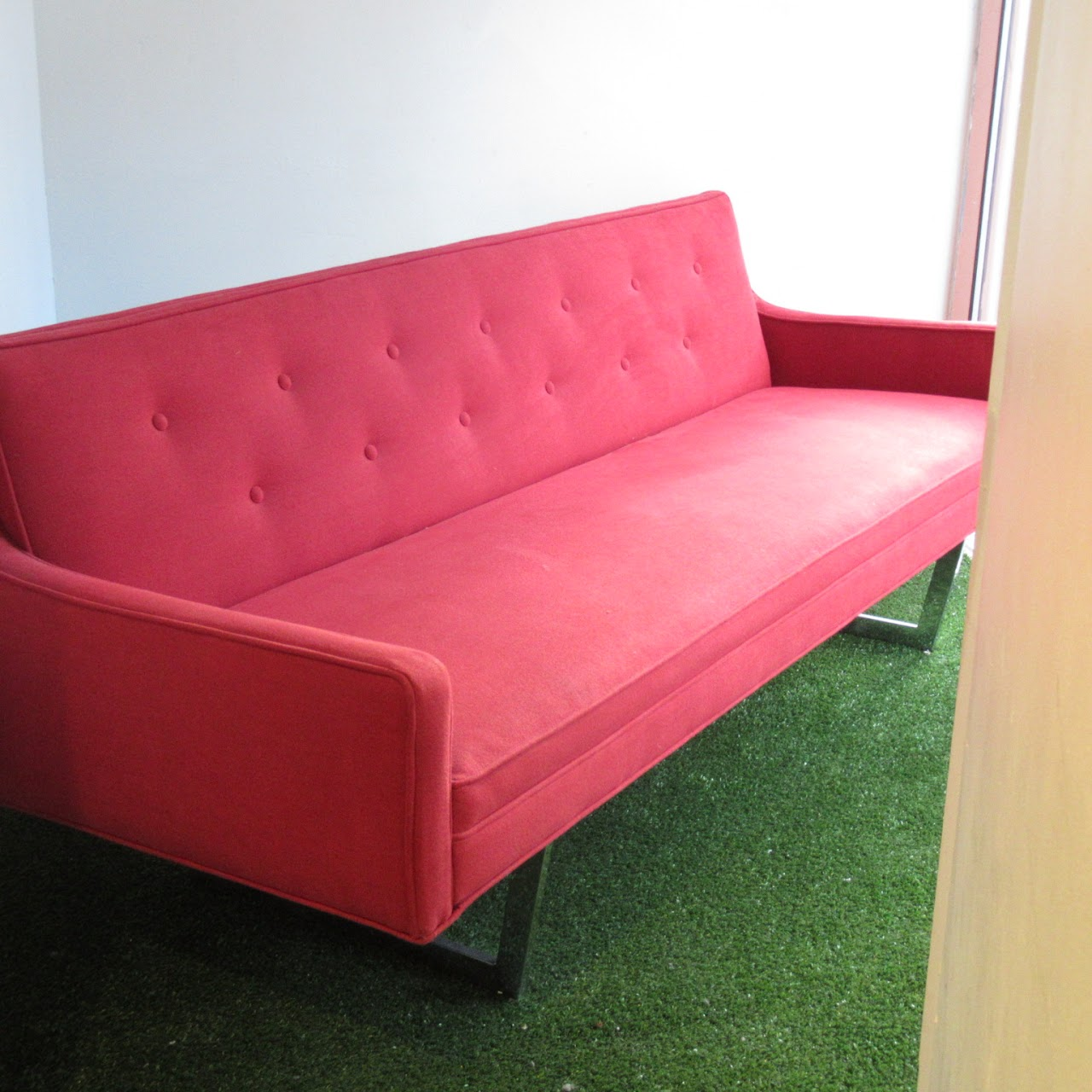 Contemporary Red Tufted Sofa | Shophousingworks