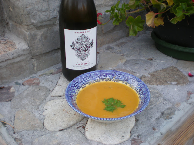 Squash soup and Vintage Ink Chardonnay