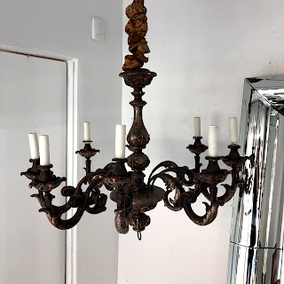 Wood and Plaster Eight-Arm Chandelier