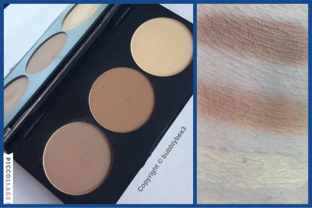 swatches and close up of the primark beauty contour set