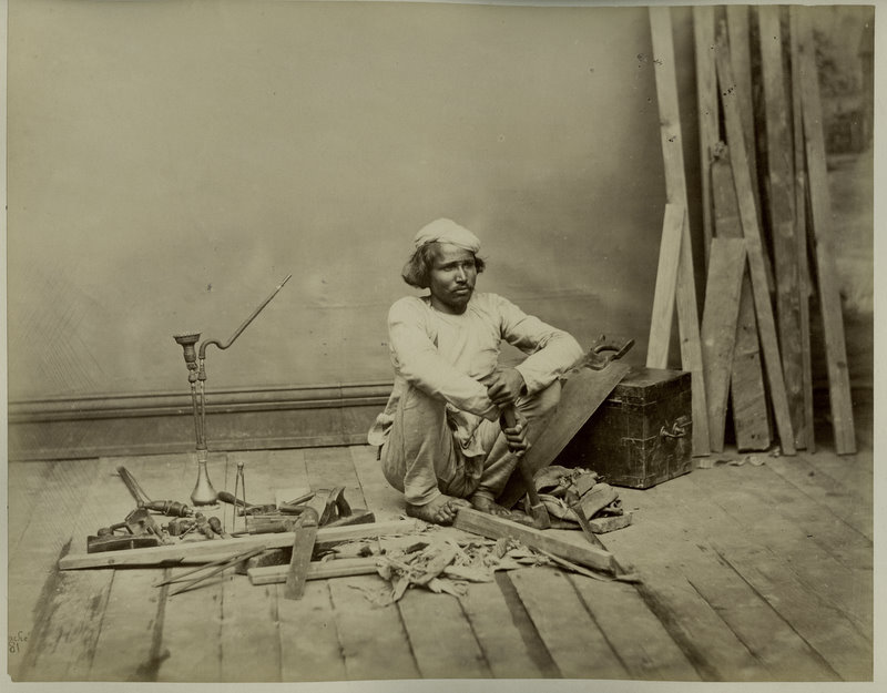 Carpenter At Work India Circa 1869 Old Indian Photos