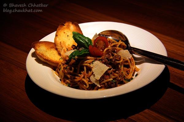 Bolognese Bliss Spaghetti served at Toss Sports Lounge Koregaon Park