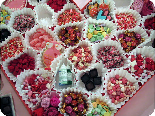 What goes inside a giant Valentine? An assortment of candy and some special treats in giant coffee filters!
