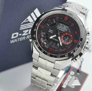 jam tangan D-ZINER DZ8023 Double time silver RED