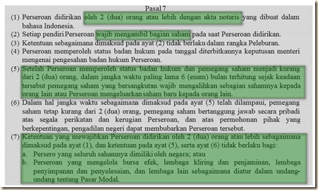 UU nomor 40 tahun 2007 tentang pendirian pt