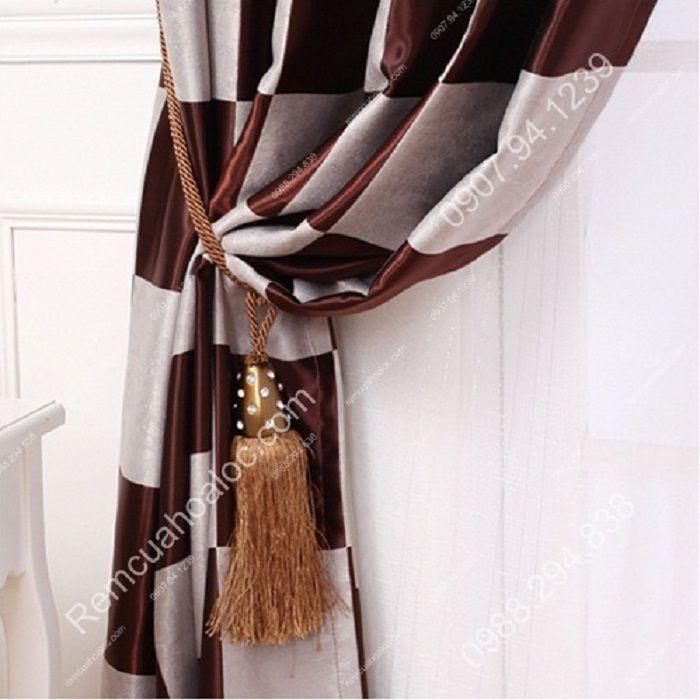 Rèm cửa đẹp cao cấp họa tiết bàn cờ 16