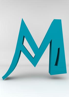 lettre 3D homme joker turquoise - M - images libres de droit