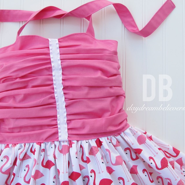 Girls Boutique Rockabilly Style ruched bodice twirl dress Hot Pink with Flamingos by Daydream Believers Designs
