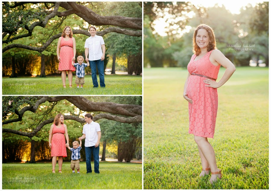 Family under oak tree and maternity composite