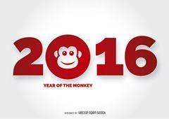 цифра 2016 с обезьяной