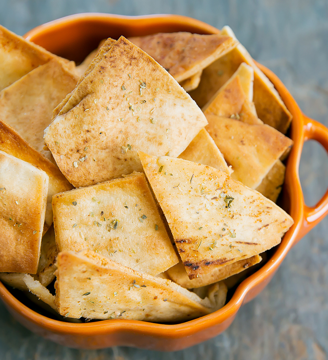 overhead photo of a bowl of Ranch Flavored Pita Chips