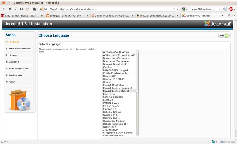 Pilih bahasa yang akan digunakan dlm instalasi