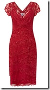 Cherry red cap sleeve stretch lace layered sequined dress
