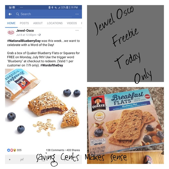 "Jewel Osco word of the Day Freebie! Grab a free box of Quaker Blueberry Flats or Squares when you say the word ""blueberry"" Today only"