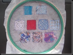 7 paper samples in hoop