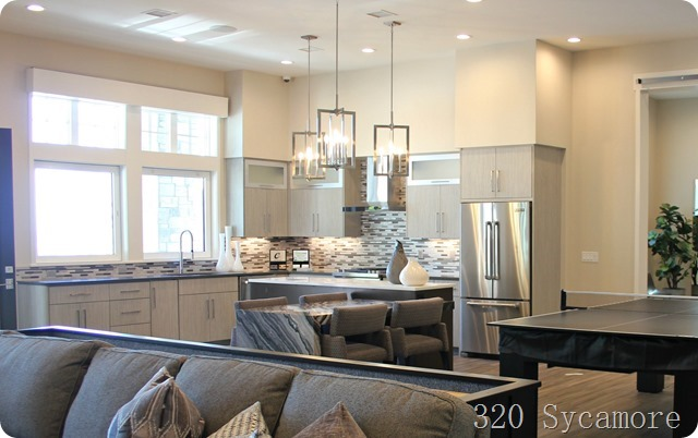 gray modern basement kitchen