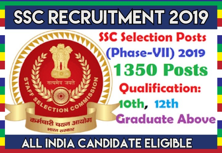 Staff Selection Commission Recruitment Phase VII 1350 Posts
