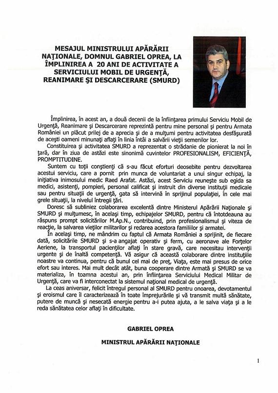Mesajul ministrului Gabriel Oprea către SMURD la împlinirea a 20 de ani de activitate