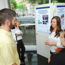 Student sustainability project showcase in the Atrium.