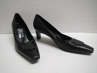Salvatore Ferragamo All Black Kitten Heels