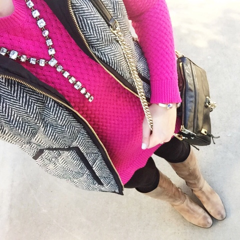 j. crew vest, pink sweater, riding boots