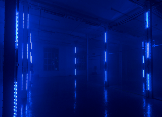 """Cluster"", a light and sound generative installation"