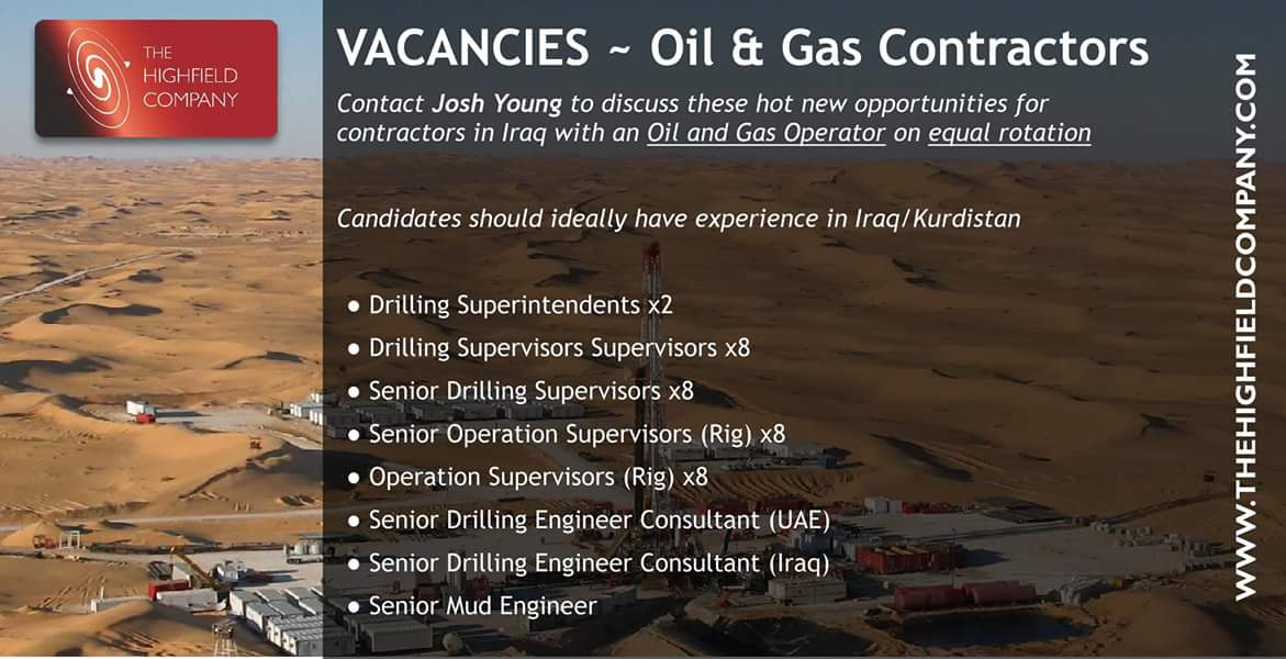 Oil and Gas Jobs: Multiple Drilling Jobs in Iraq