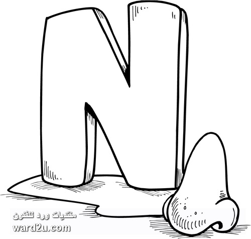 حروف وارقام فى رسوم تعليمية جاهزه للتلوين