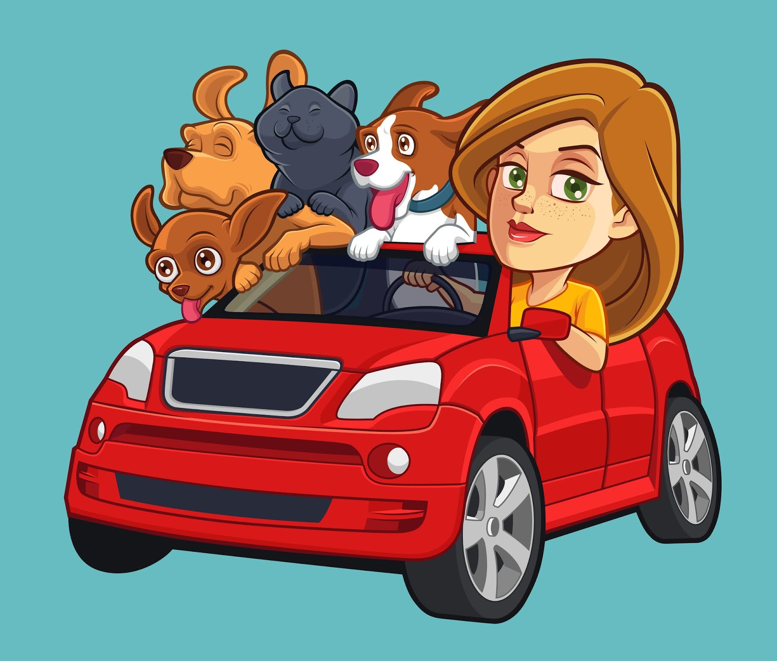 Girl Driving Car With Pets Free Download Vector CDR, AI, EPS and PNG Formats