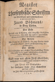 Cover of Jakob Bohme's Book Register Uber Alle Theosophischen Schriften (1730,in German)