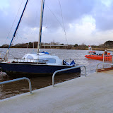 The catamaran is now near the slipway at Rockley - 24 December 2013.  Photo credit: Steve Axtell