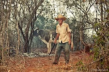 Farmer from Alacranes, Cuba on his ranch with a big knife.
