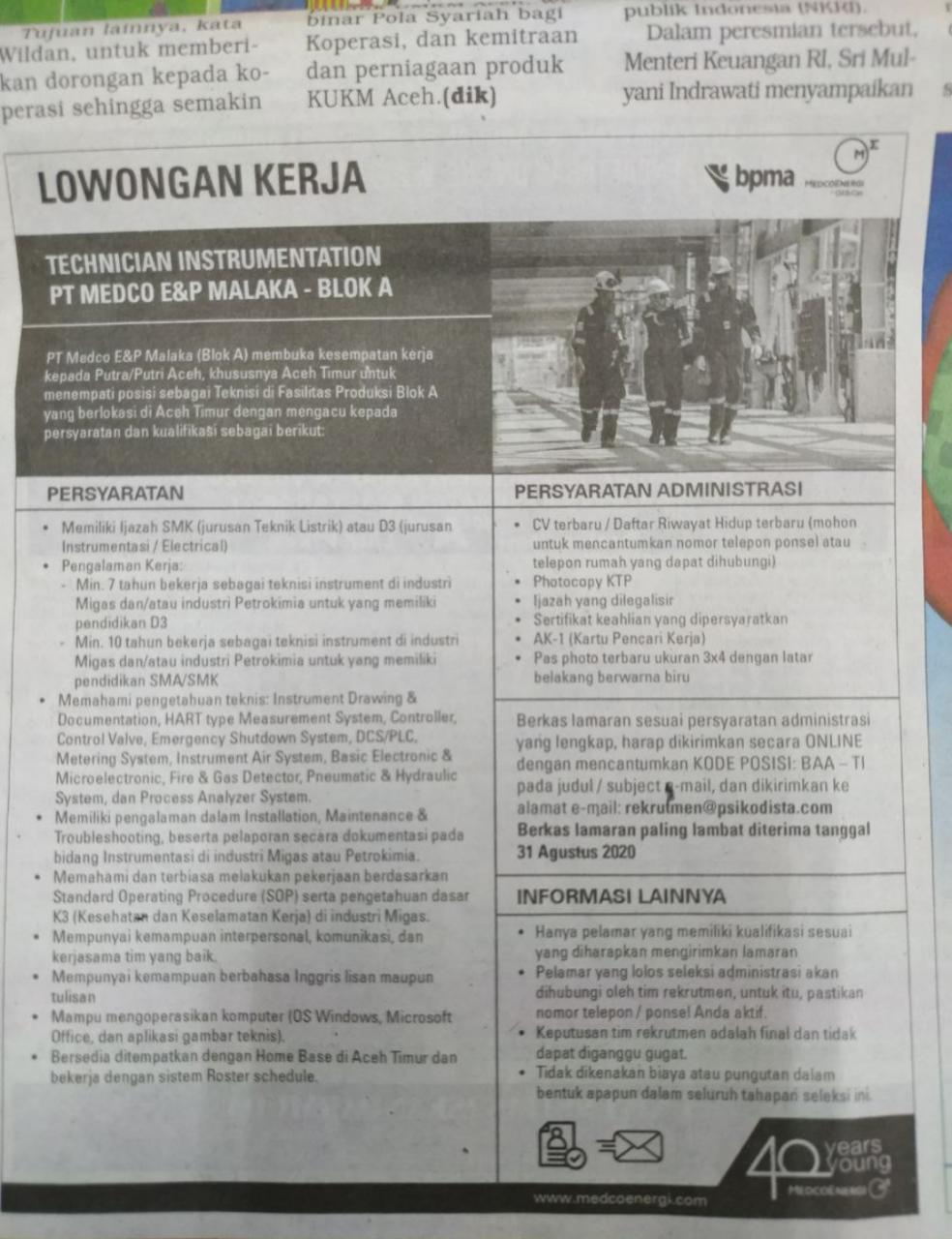 Lowongan Kerja Pt Medco Di Aceh Timur Terbaru Agustus 2020